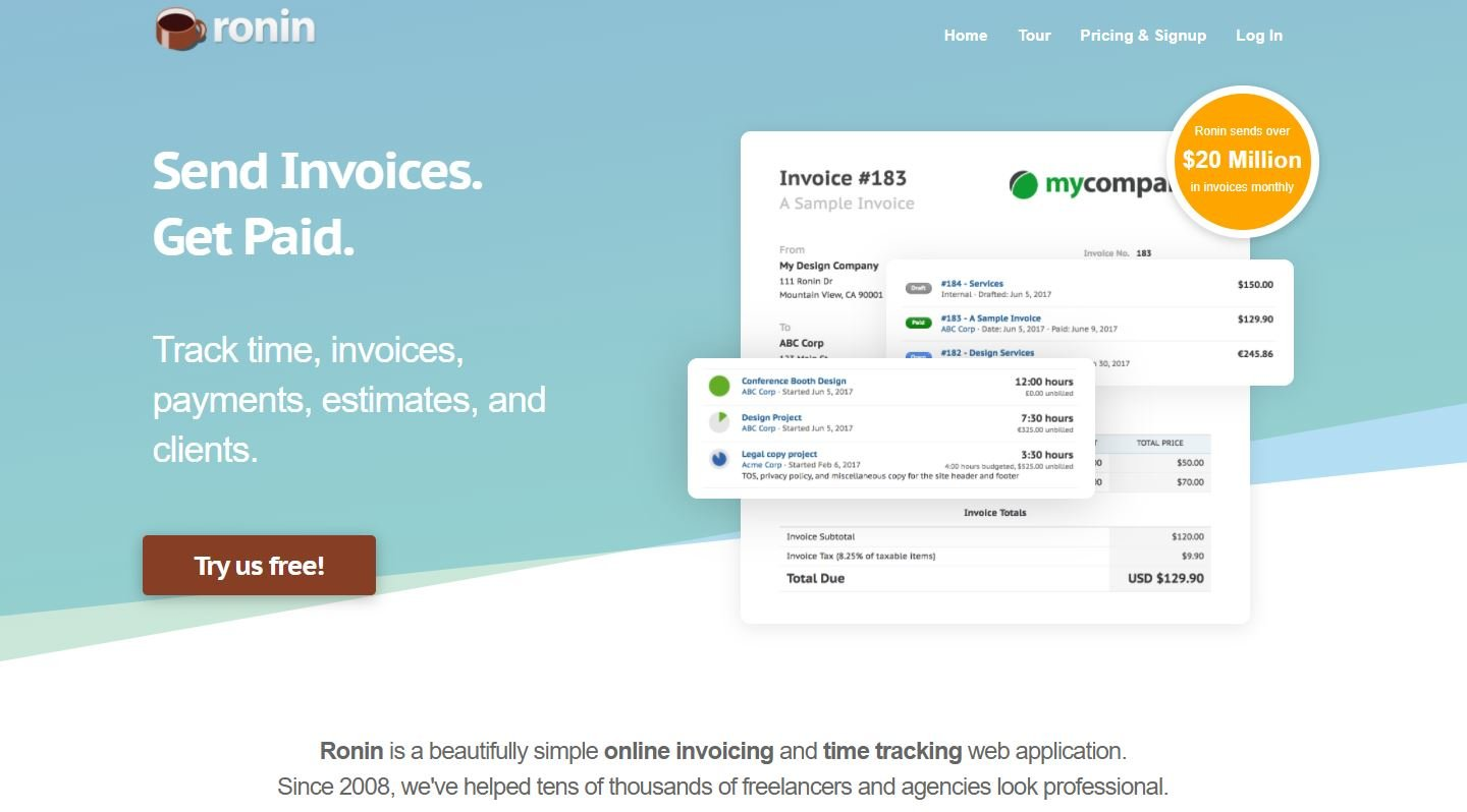 Ronin online time tracking and invoicing app