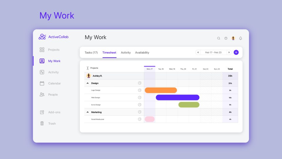 ActiveCollab timesheet tracking software