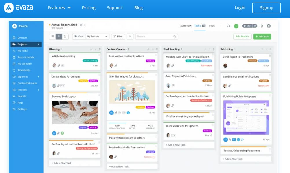 Avaza tracking project and billable hours