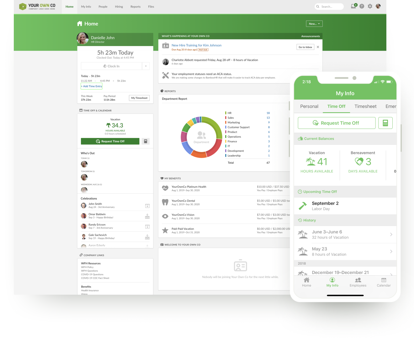 BambooHR Easy tracking of billable hours