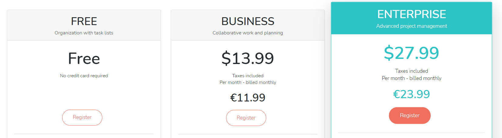 Beebusy pricing plan