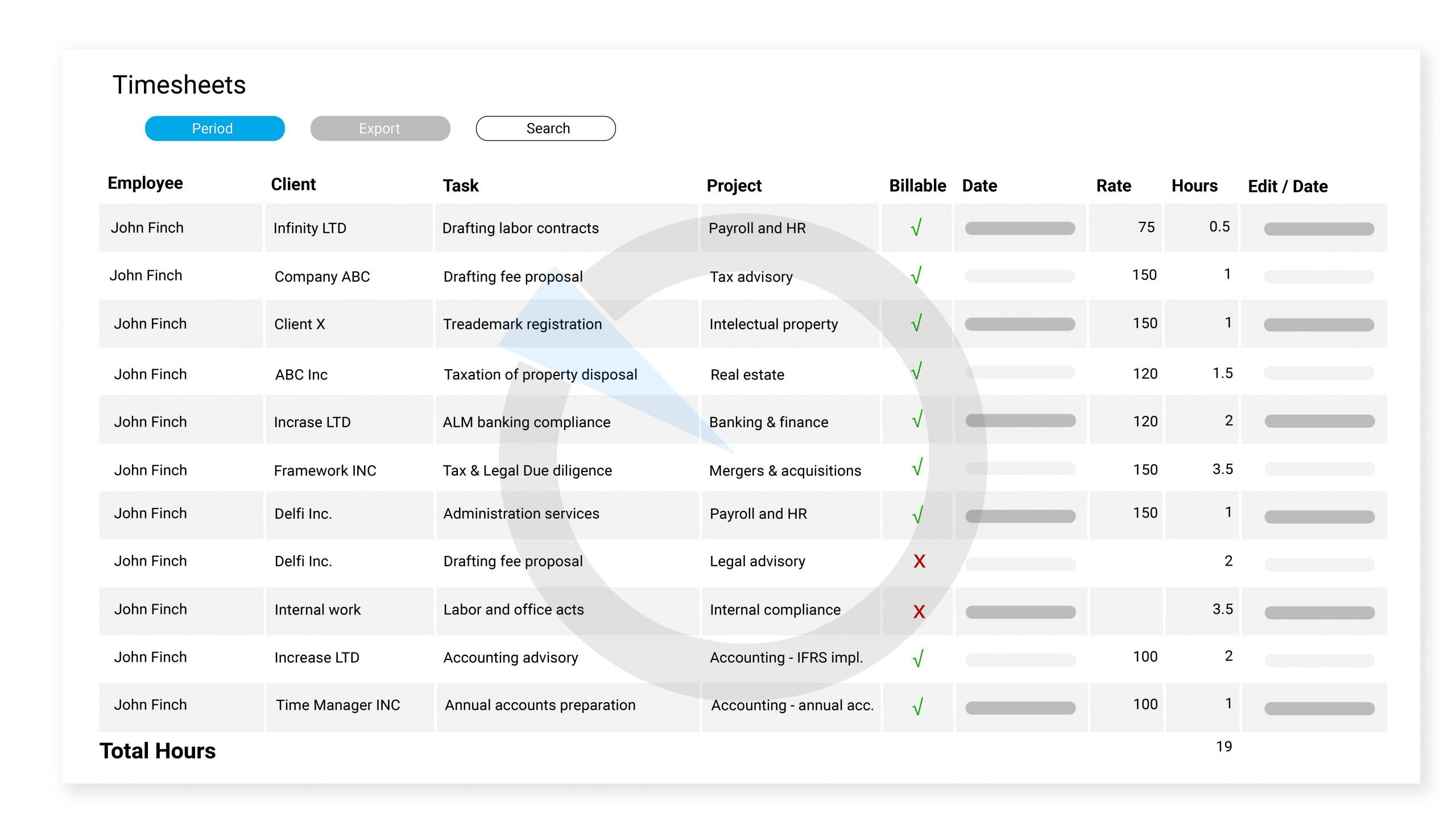 Easily track everything with comprehensive timesheets.
