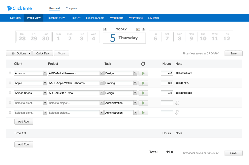 ClickTime managing your time with online timesheets