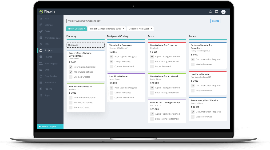 Flowlu tracking project and billable hours