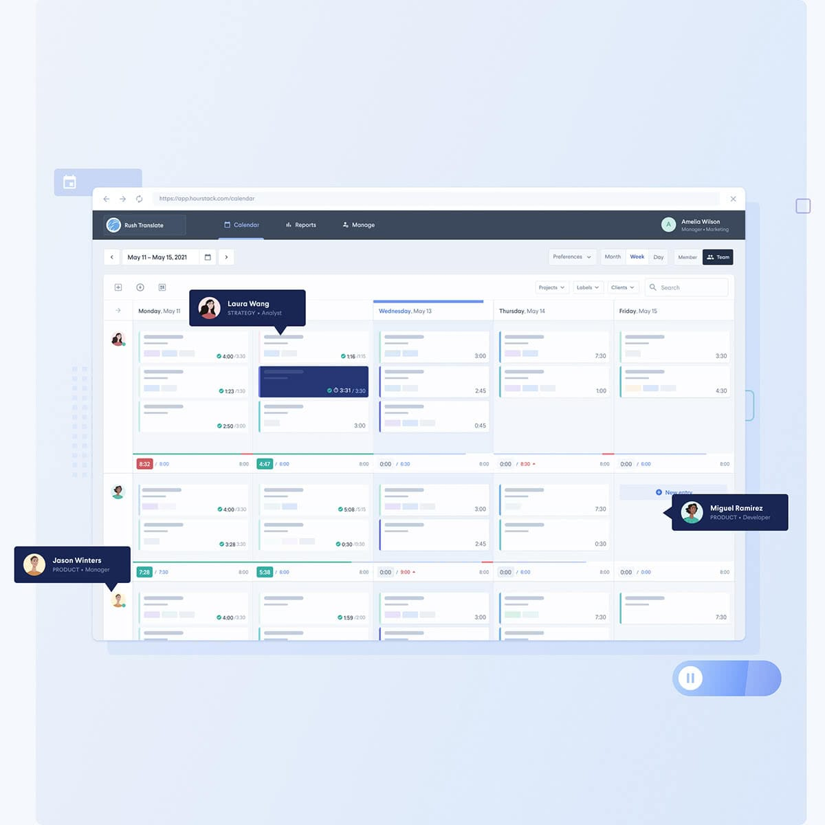HourStack schedule tasks, track time, export reports