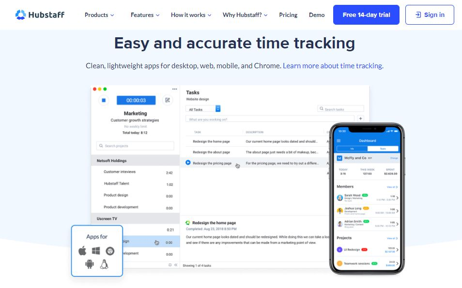 Hubstaff remote employee time tracking with screenshots