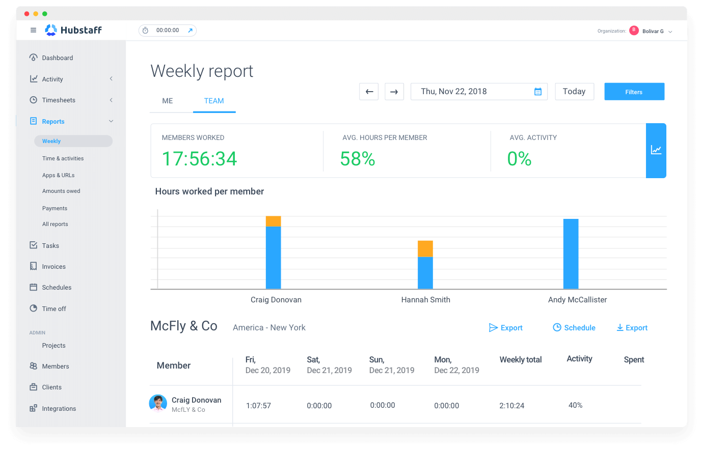 Hubstaff software to track billable hours