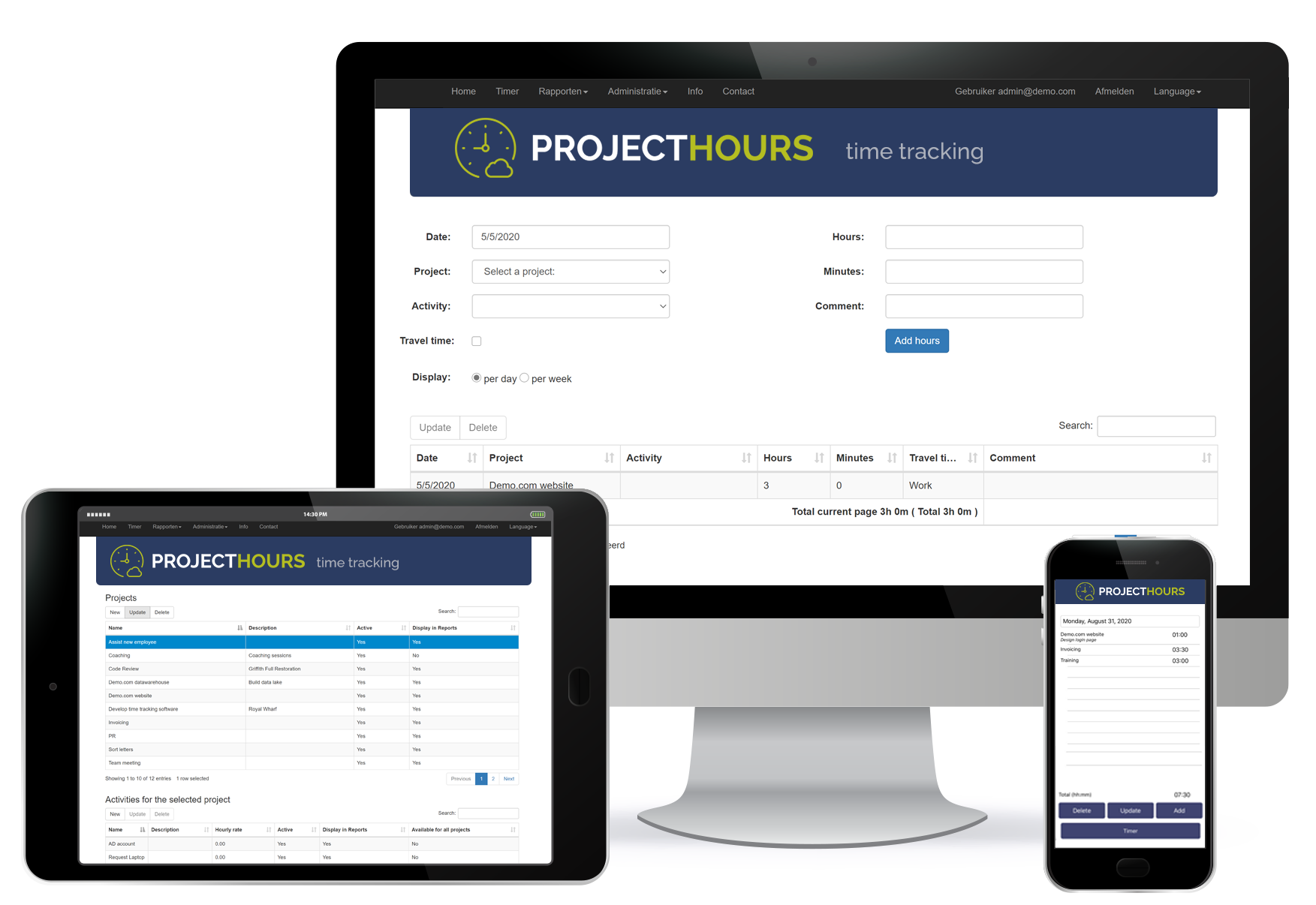 Project Hours tracking project and billable hours