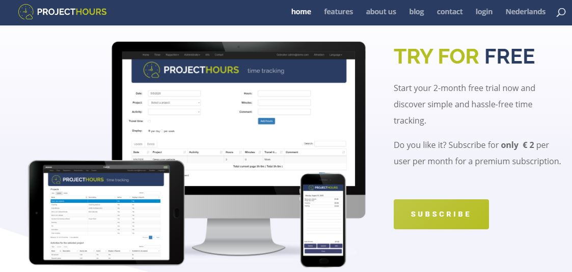 Project Hours time and cost tracking