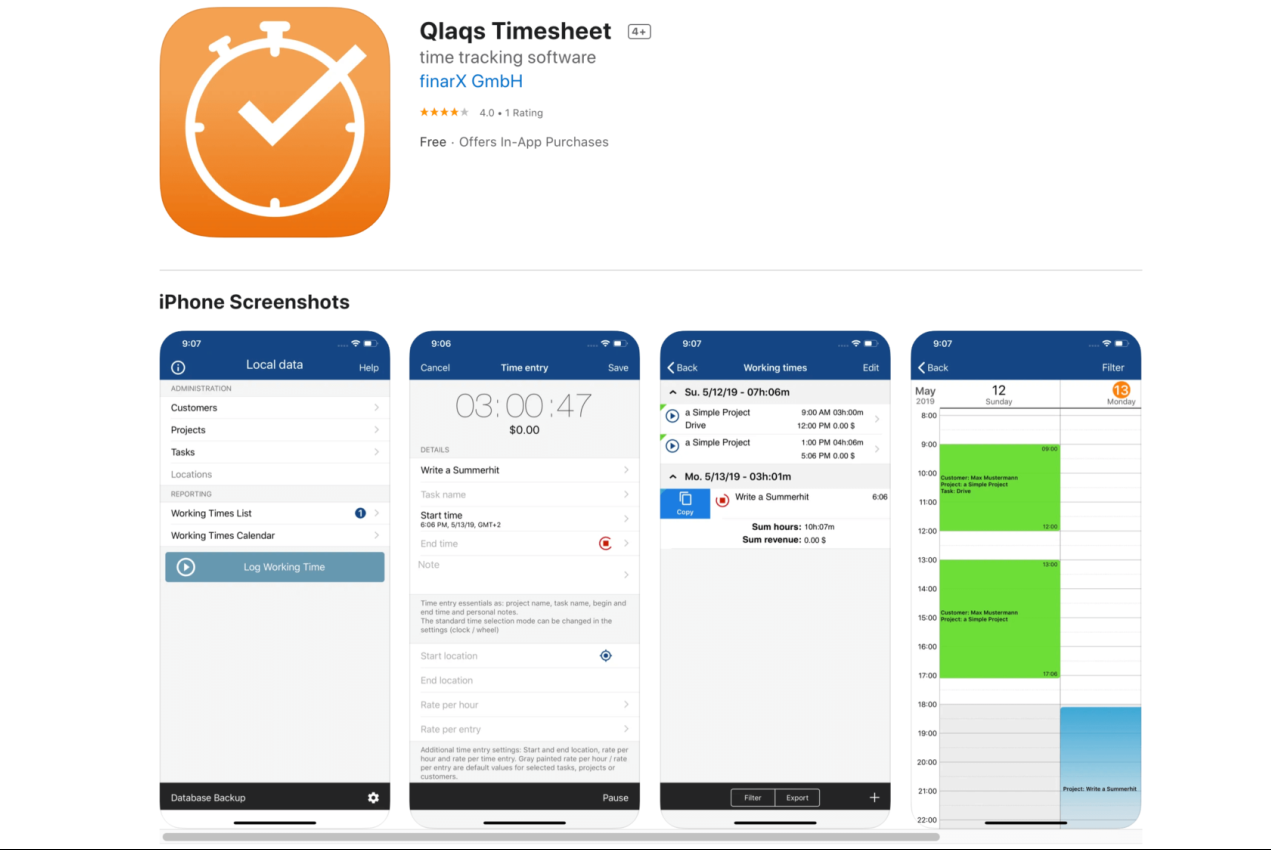 Qlaqs billable hours tracking app