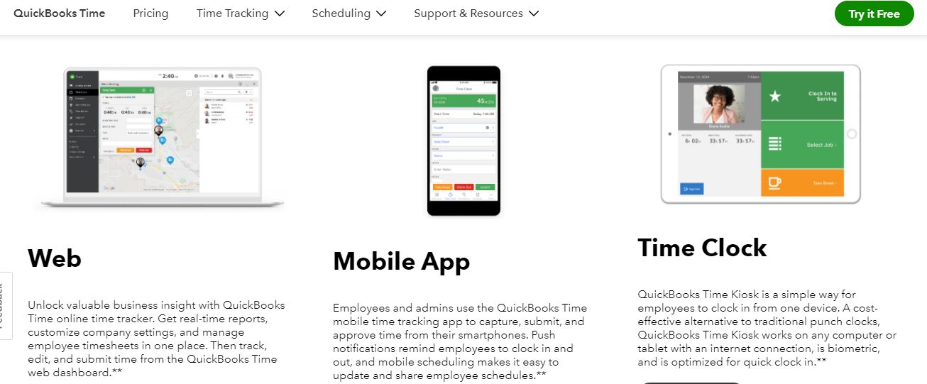 Quickbooks clocking in or out