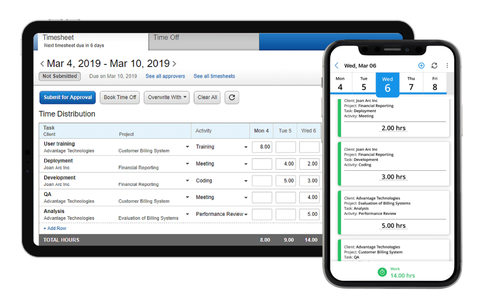 Replicon online timesheet software
