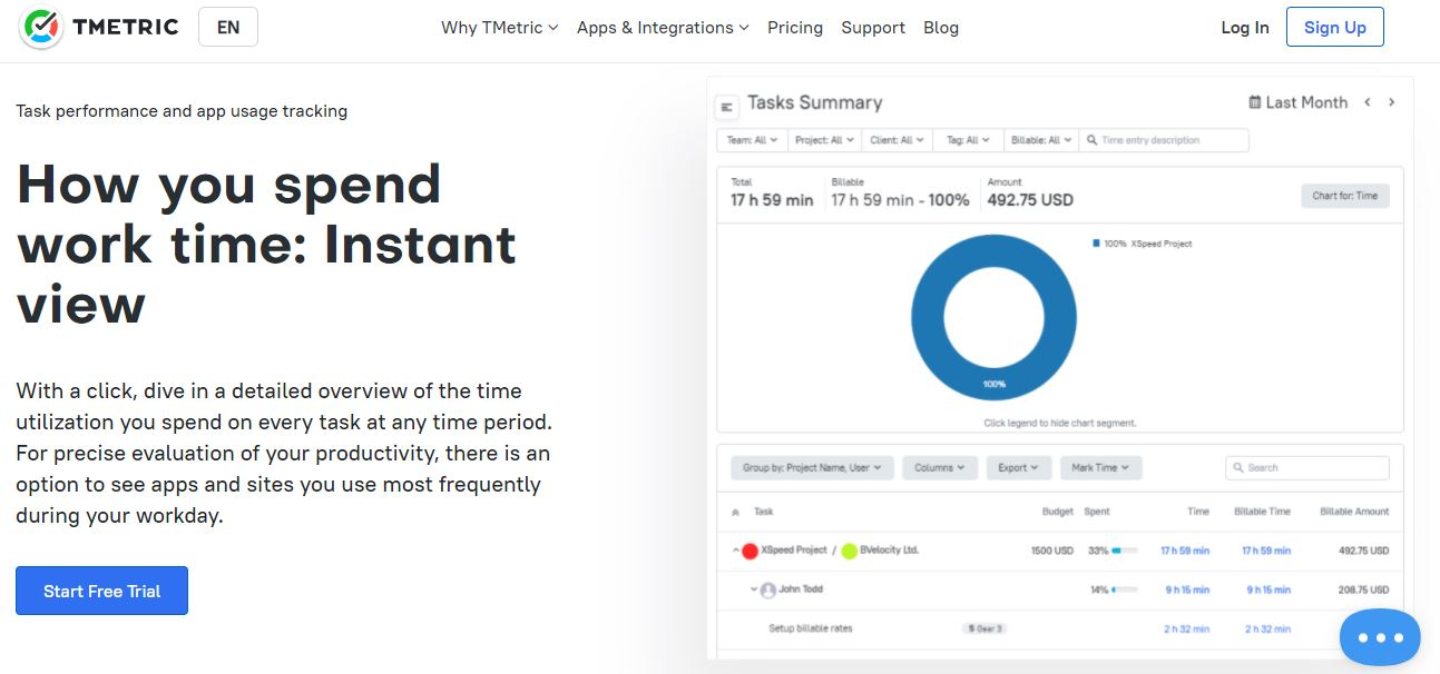 TMetric time and cost tracking