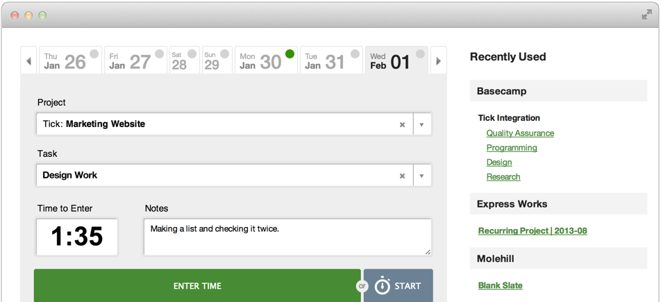 Tick tracking project and billable hours