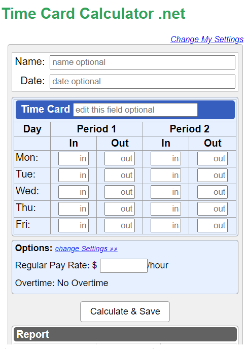 Time Card Calculator record working hours and breaks