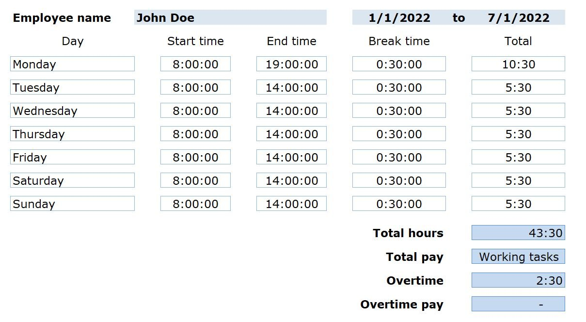 time card work hours calculate