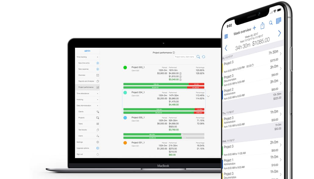 TimeTrack tracking project and billable hours