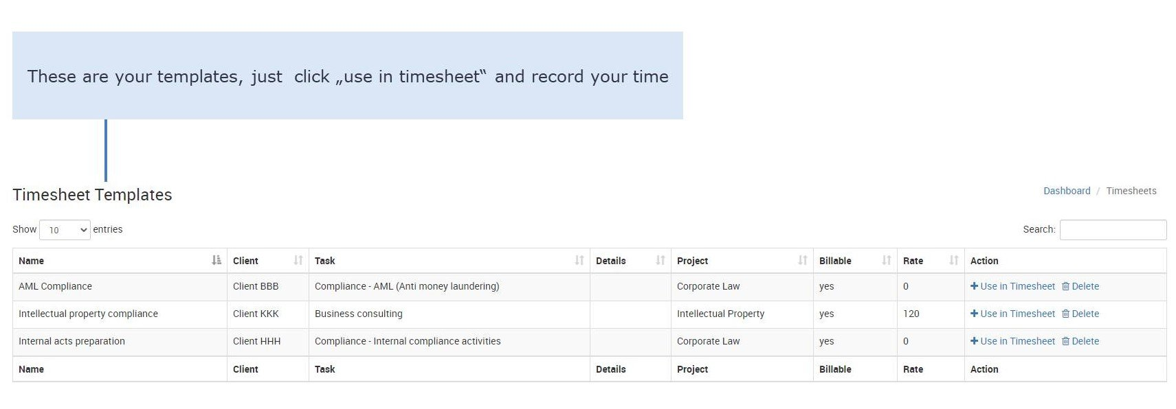 Timesheet template for lawyers