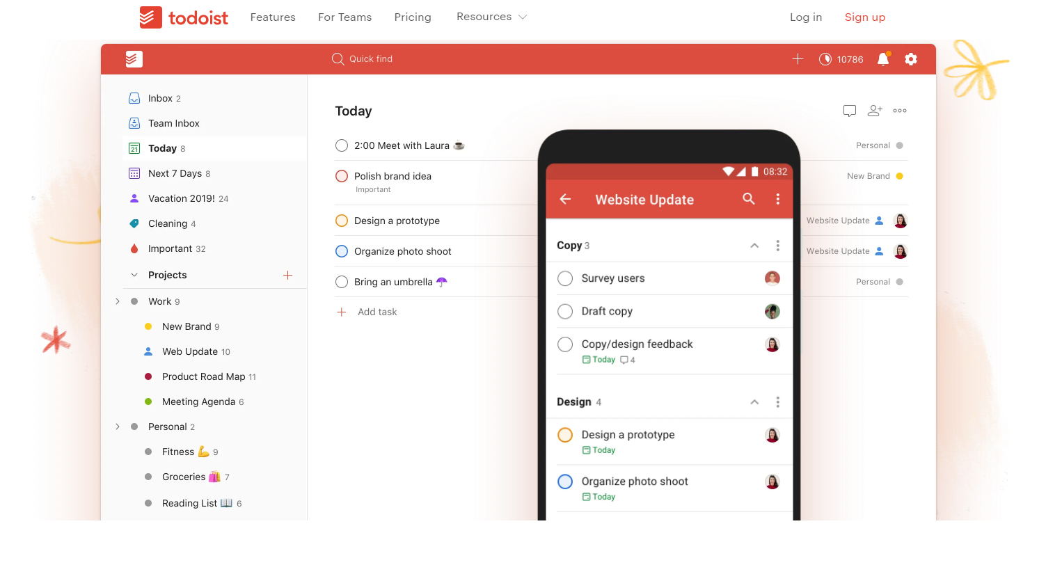 Todoist tracking project and billable hours