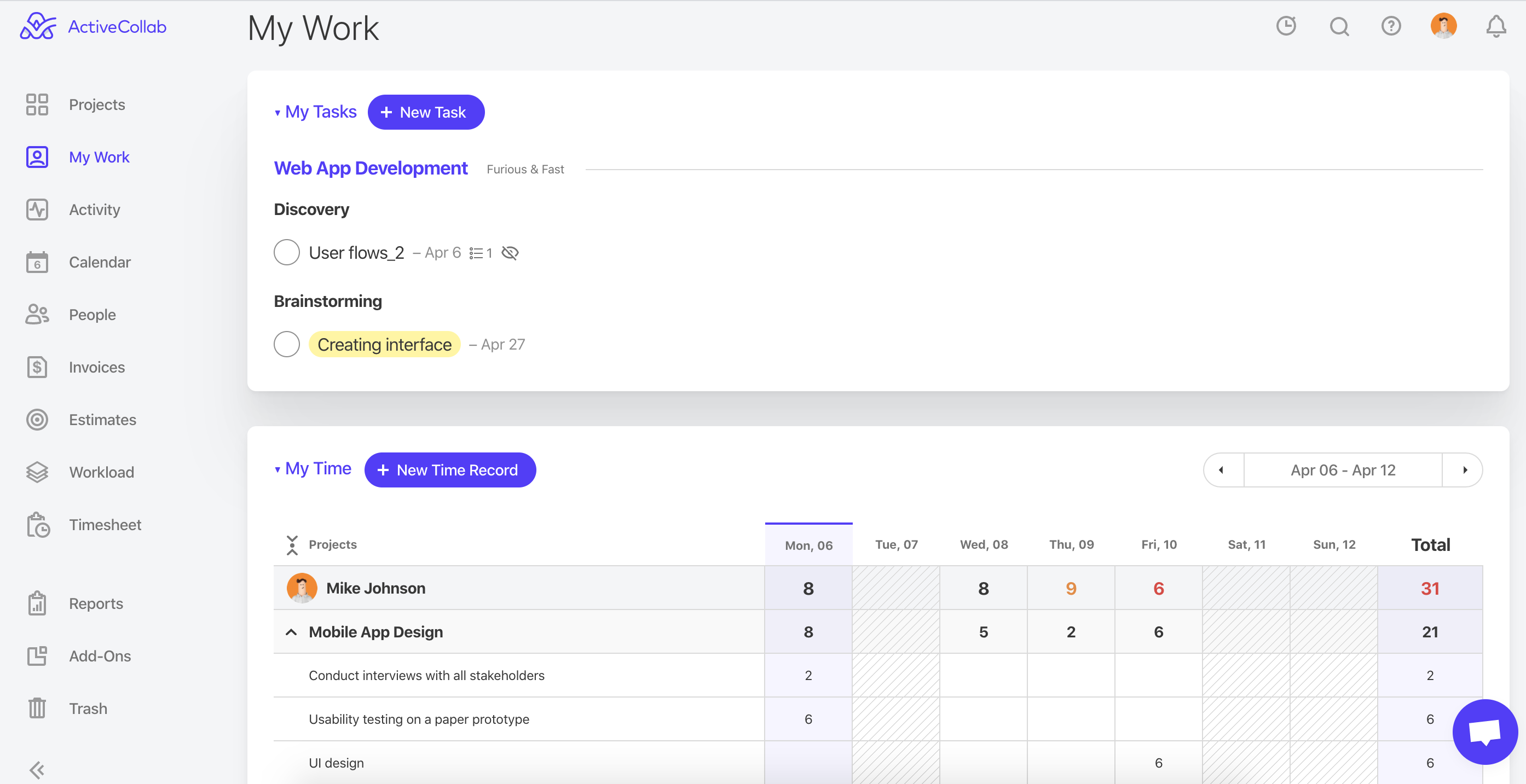 ActiveCollab Team time tracking