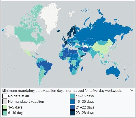 average working hours per week by country