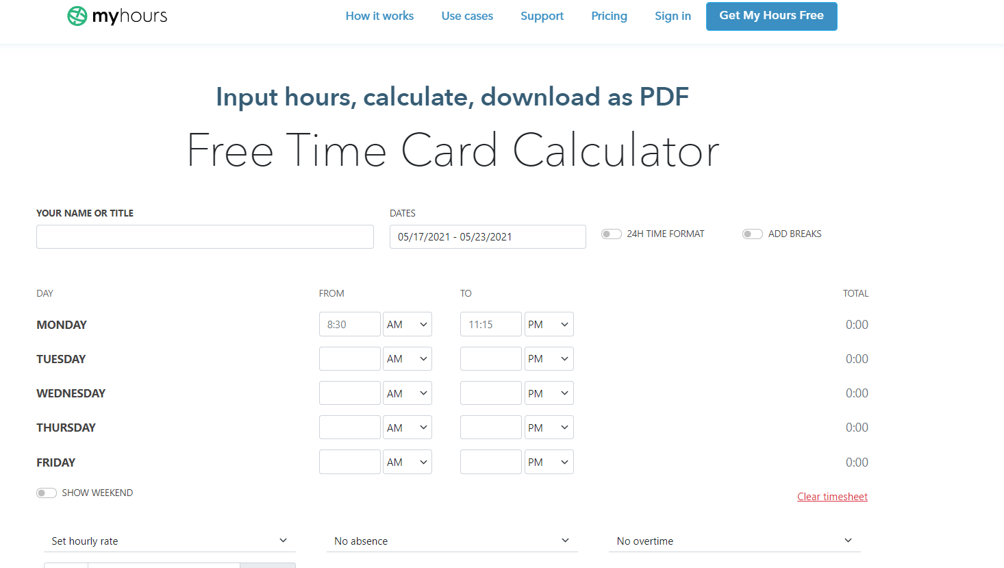 myhours time card calculator