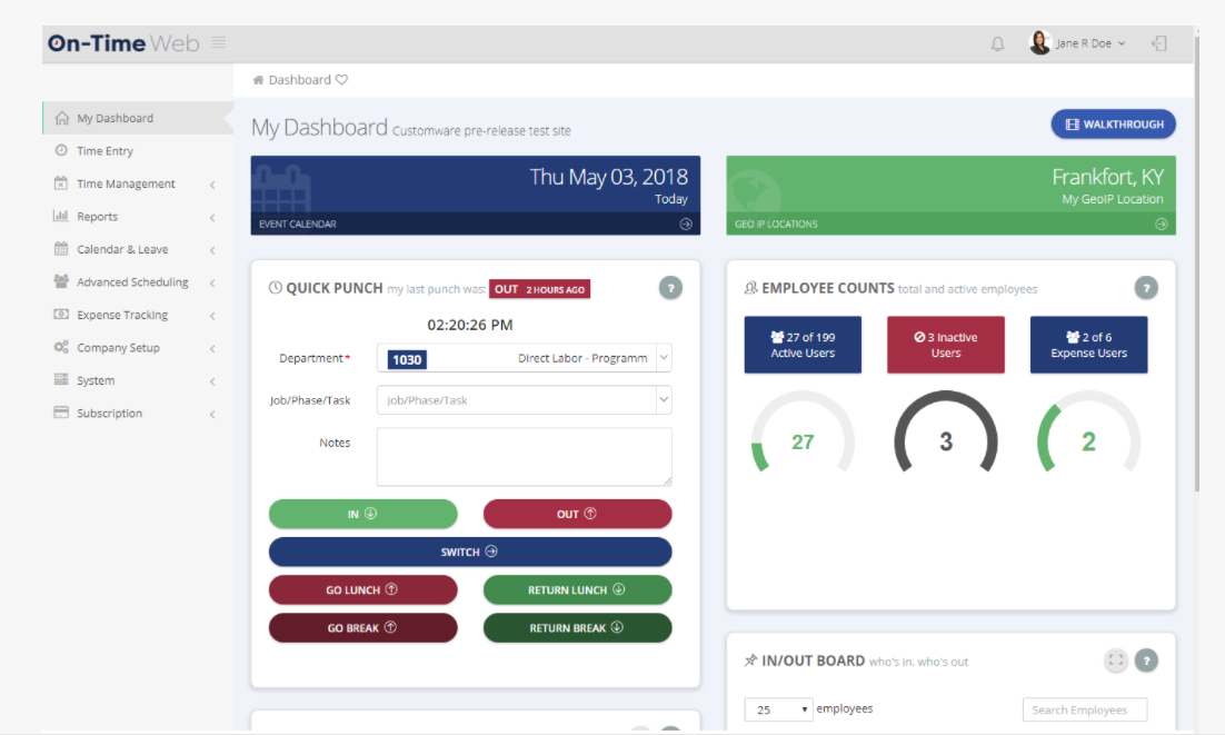 ontimeweb time reporting software