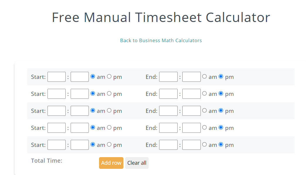 timesheets time card calculator